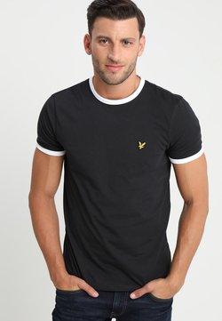 Lyle & Scott - RINGER TEE - T-shirt basic - true black/white