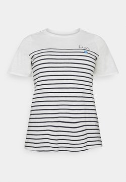 MY TRUE ME TOM TAILOR - STRIPED CHEST EMBRO - T-Shirt print - whisper white