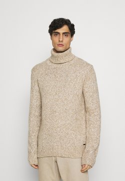 TOM TAILOR - TURTLE NECK SWEATER - Strickpullover - white/camel