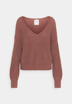 Abercrombie & Fitch - FRIENDLY SLOUCHY VNECK - Strickpullover - burlwood