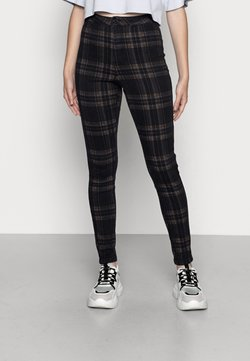 Missguided - CHECK VICE CHECKED HIGHWAISTED - Jeans Skinny Fit - black