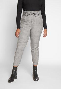 Vero Moda Curve - VMEVA LOOSE PAPERBAG CHECK - Stoffhose - grey