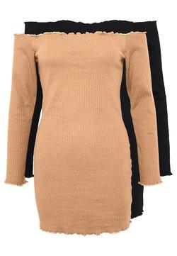 Missguided Petite - 2 PACK LETTUCE HEM MINI DRESS - Freizeitkleid - camel/black
