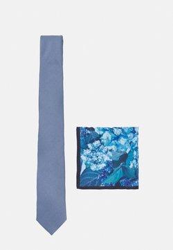 Burton Menswear London - GEO TIE FLORAL HANKIE SET - Krawat - blue