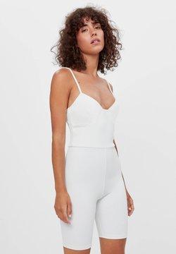 Bershka - CORSAGE-JUMPSUIT MIT RADLERHOSE 08184326 - Overall / Jumpsuit - white