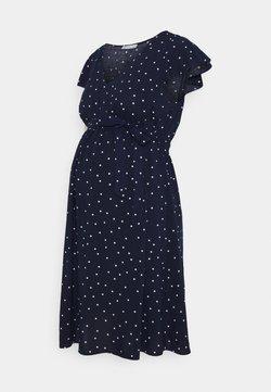 Anna Field MAMA - VOLANT DRESS BELT DRESS - Robe en jersey - dark blue /white