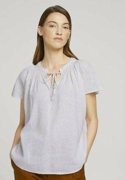 TOM TAILOR - MIT LEINEN - Bluse - offwhite thin stripe woven