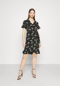 Vero Moda - VMSAGA WRAP FRILL DRESS  - Freizeitkleid - black