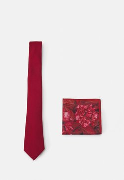 Burton Menswear London - GEO TIE HANKIE SET - Krawatte - red