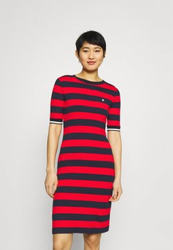 GANT - BAR STRIPED DRESS - Jerseykleid - lava red