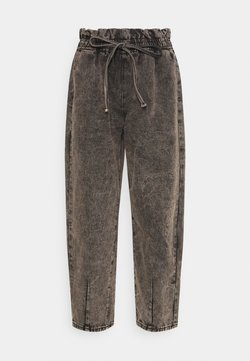 Missguided - ELASTICATED TIE DETAIL BALLOON - Relaxed fit jeans - black