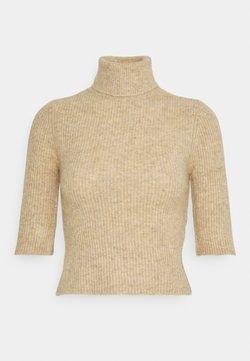 Noisy May - NMSUSIE HIGH NECK CROP - Strickpullover - beige
