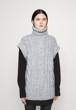 River Island - OVERSIZED CABLE TUNIC - Strickpullover - grey