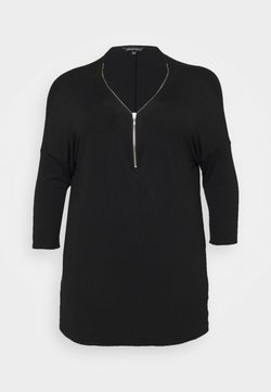 CAPSULE by Simply Be - ZIP FRONT LONG SLEEVE TUNIC - Bluzka z długim rękawem - black