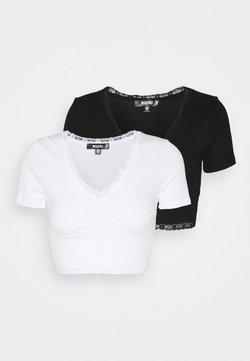 Missguided - TRIM CROP 2 PACK - T-Shirt basic - black/white