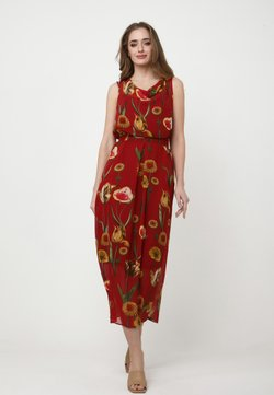 Madam-T - ZAKIA - Freizeitkleid - wein rot, gelb