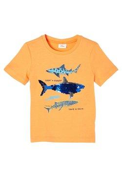 s.Oliver - MIT WENDEPAILLETTEN - T-Shirt print - light orange