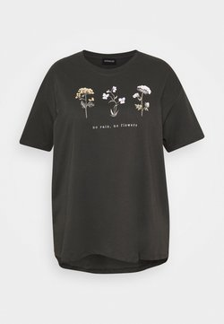 Even&Odd Curvy - HATTIE WILDFLOWERS NO RAIN TEE - T-shirts med print - anthracite