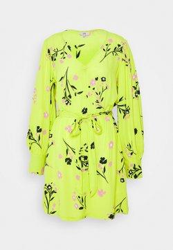 River Island Petite - WAISTED MINI DRESS - Vestido informal - yellow
