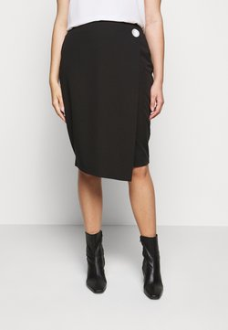 CAPSULE by Simply Be - BUTTON DOWN PENCIL SKIRT - Bleistiftrock - black