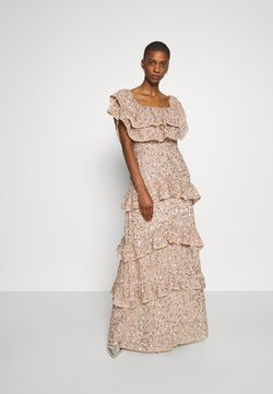 Maya Deluxe - BARDOT ALL OVER SEQUIN MAXI DRESS WITH RUFFLES - Robe de cocktail - taupe blush