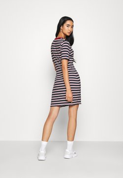 Tommy Jeans - STRIPED TEE DRESS - Jerseykleid - twilight navy/white