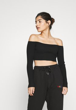 Missguided Petite - SQUARE NECK CROPPED JUMPER - Langarmshirt - black