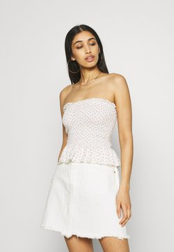 American Eagle - CINCH FRONT SMOCK TUBE - Top - white
