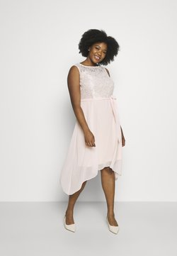 Dorothy Perkins Curve - BILLIE SLEEVELESS LACE LOW MIDI DRESS - Cocktail dress / Party dress - blush