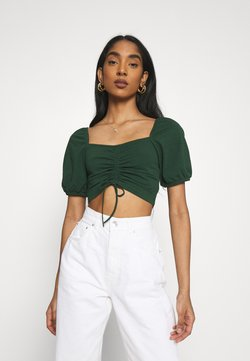 Glamorous - RUCHED CROP TOP - T-shirt print - forest green
