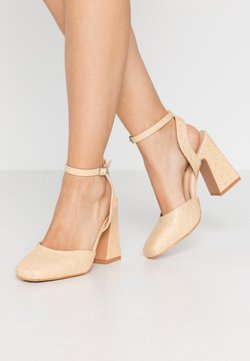 Lost Ink Wide Fit - SQUARE TOE STRAP SHOE - High Heel Pumps - cream