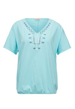 Triangle - T-SHIRT MIT ETHNO-STITCHING - Top - turquoise embroidery