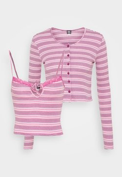 BDG Urban Outfitters - STRIPED CARDIGAN SET - Strickjacke - pink