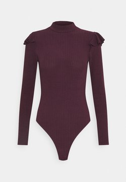 New Look - SOFT FRILL BODY - Langarmshirt - dark burgundy