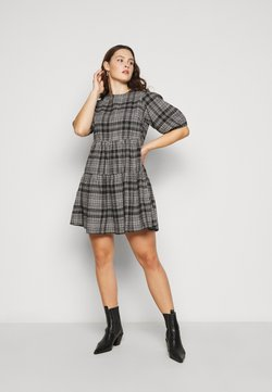 Missguided Plus - CHECK SMOCK DRESS - Freizeitkleid - black