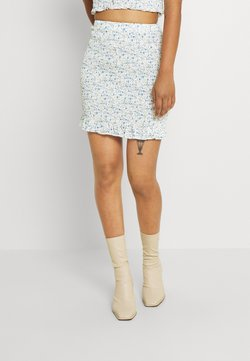 Missguided - COORD SHIRRED SKIRT FLORAL - Minijupe - blue
