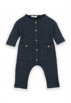 Cigit - Buttoned Detailed Ottoman Romper (0 to 3 years) - Jumpsuit - navy blue