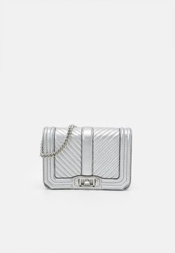 Rebecca Minkoff - CHEVRON QUILTED SMALL LOVE CROSSBODY - Umhängetasche - silver