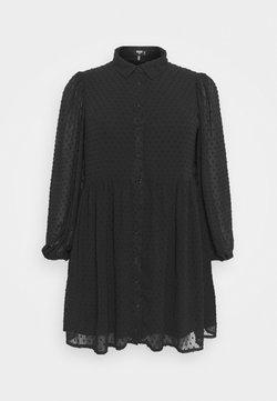Missguided Plus - DOBBY SPOT SMOCK DRESS - Freizeitkleid - black
