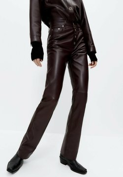 Uterqüe - Spodnie skórzane - bordeaux