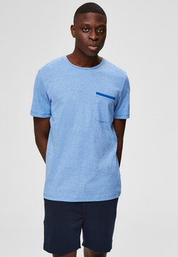 Selected Homme - T-SHIRT DEZENT GLÄNZENDES - T-shirt basic - baleine blue