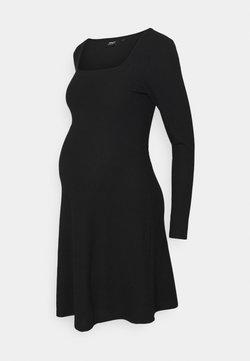 ONLY - OLMNELLA  SQUARE NECK DRESS  - Abito in maglia - black