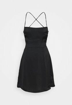 Glamorous - CARE LACE UP BACK MINI DRESS WITH NARROW STRAPS - Cocktailjurk - black