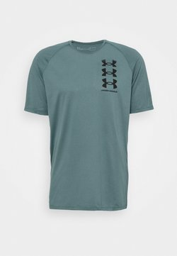 Under Armour - TRIPLE LOGO TECH - Camiseta estampada - lichen blue