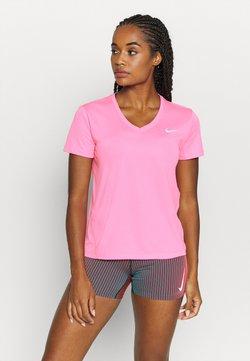 Nike Performance - MILER V NECK - Camiseta estampada - pink glow/silver