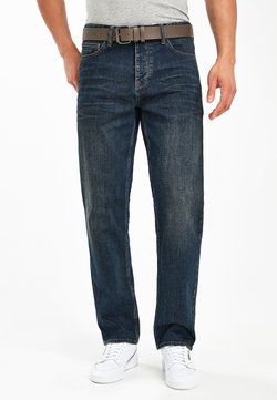 Next - DIRTY WASH STRAIGHT FIT BELTED JEANS WITH STRETCH - Jeans Straight Leg - blue