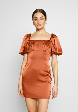 Missguided - RUCHED BUST PUFF MINI DRESS - Cocktail dress / Party dress - rust