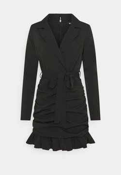 Missguided Petite - RUCHED FRILL BLAZER DRESS - Cocktail dress / Party dress - black