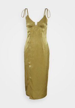 Missguided - TIE STRAP PLUNGE DETAIL MIDI DRESS - Cocktailkleid/festliches Kleid - khaki
