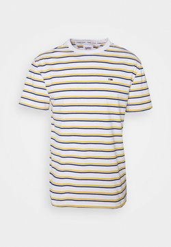 Tommy Jeans - TWO TONE STRIPE CLASSIC TEE - T-shirt con stampa - white/orange